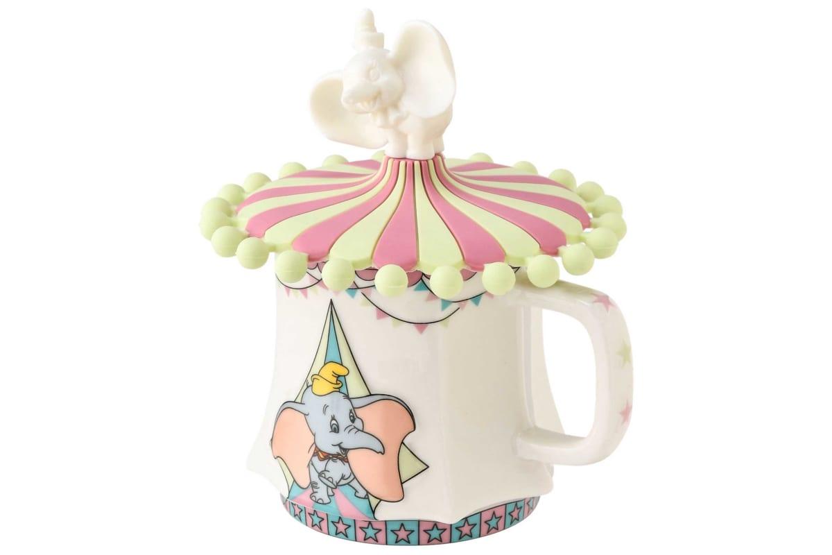 (ディズニー ダンボ カップカバー ピンク×グリーン、ディズニー ダンボ マグカップ ©Disney)