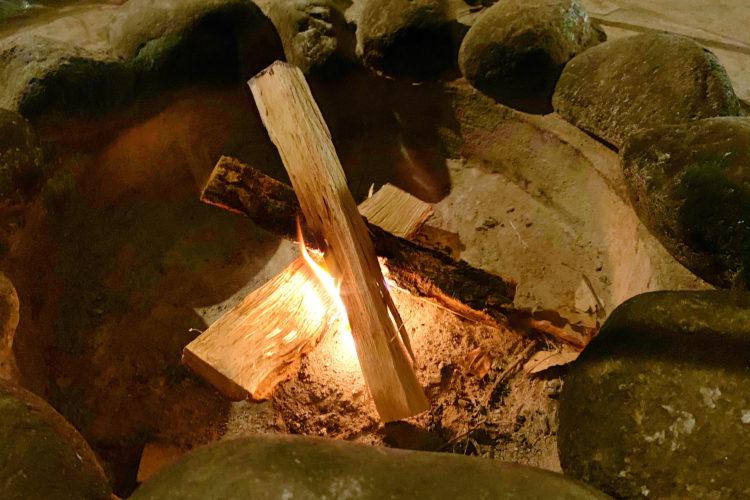 焚き火最初